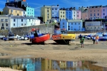 Tenby colourful boats and reflection copy